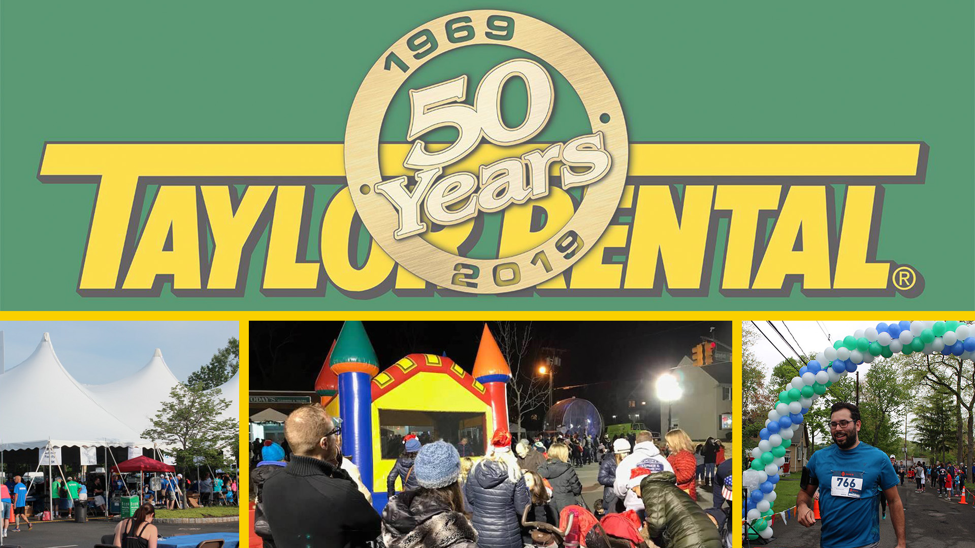 EPIC Community Service: Taylor Rental Center's 50 Events for 50 Years logo and pictures of events.