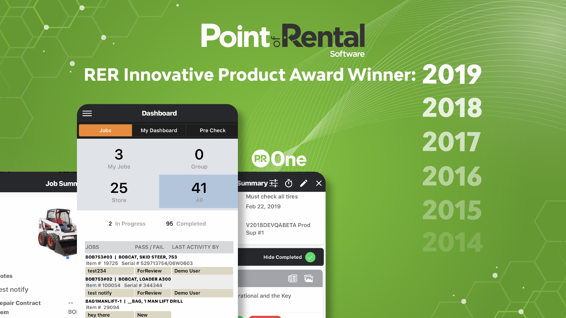 2019 Innovative Product Award Winner Point of Rental ONE